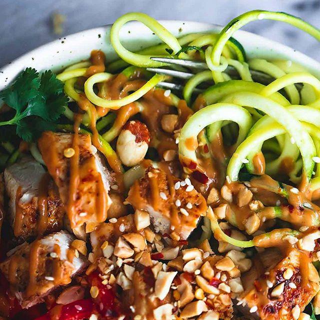 peanut butter chickenwok, chicken, peanut butter, peanut chicken, deffa, low carb, protein recipe, paleo, paleo recipe, zoodles, näringsberäknat, healthy,