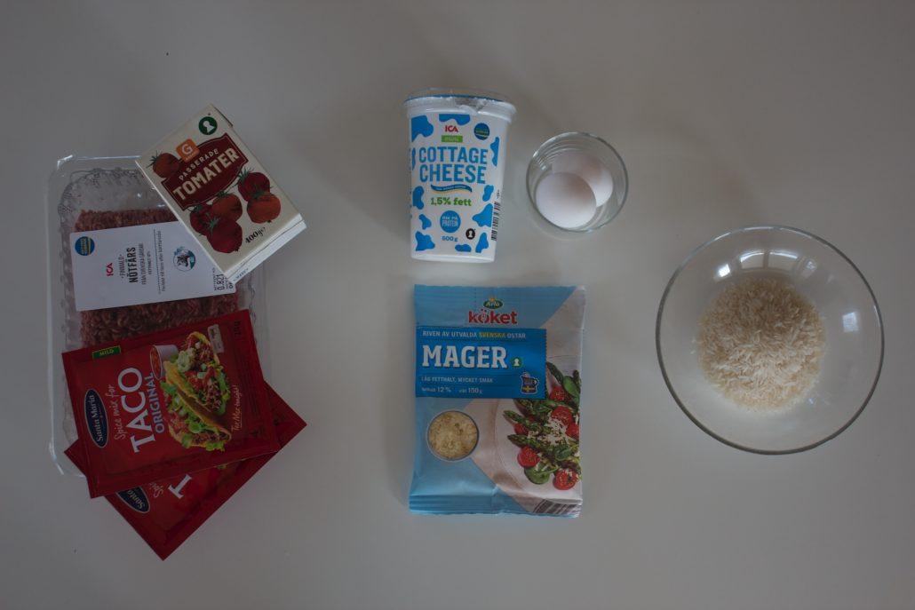 tacogratang recept, tacogratäng protein, tacogratäng matlåda, deffmat